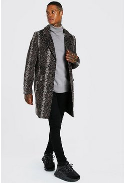 Brown Snake Print Single Breasted Overcoat