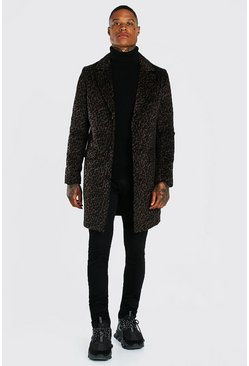 Brown LEOPARD PRINT SINGLE BREASTED OVERCOAT