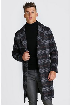 Charcoal grey Big Check Single Breasted Overcoat