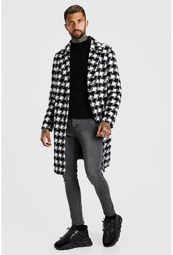 Black Houndstooth Drop Shoulder Longline Overcoat
