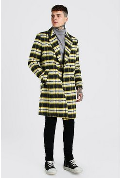 Yellow Big Check Double Breasted Overcoat
