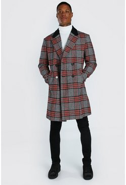 Multi Big Check Overcoat With Back Neck Collar Details