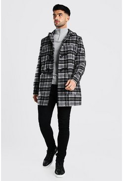 Grey Check Duffle Coat With Toggles