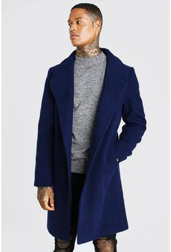 Navy Smart Funnel Neck Overcoat With Concealed Buttons