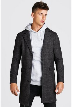 Charcoal Smart Textured Stretch Overcoat