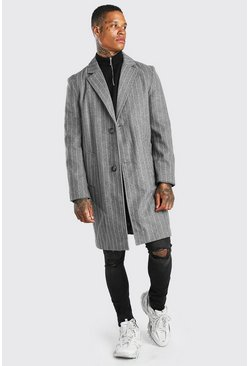 Grey Pinstripe Single Breasted Overcoat