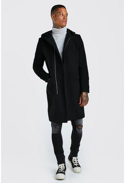 Black Concealed Zip Through Hooded Overcoat