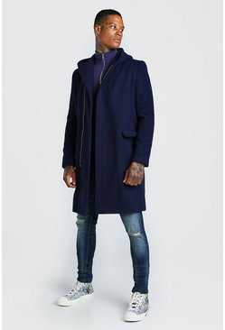 Navy Concealed Zip Through Hooded Overcoat