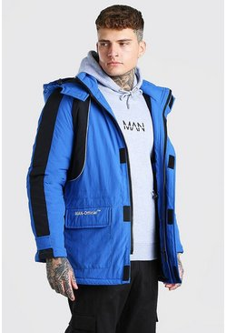 Blue Colour Block Hooded Ski Jacket