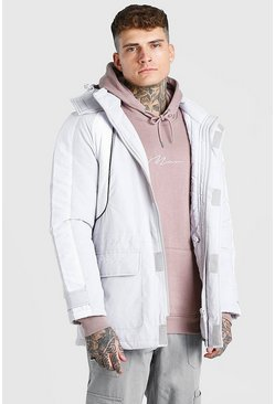Light grey grey Colour Block Hooded Ski Jacket