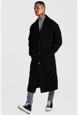 Black Single Breasted Extra Longline Overcoat