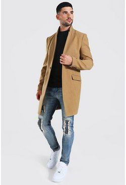 Camel Stand Up Collar Smart Single Button Overcoat