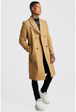 Camel beige Longline Overcoat With Faux Leather Fastening