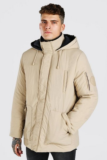 Stone beige 4 Pocket Hooded Parka