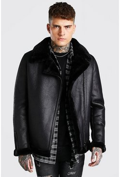 Black svart Suedette Faux Fur Trimmed Aviator