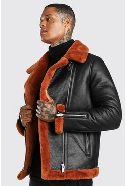 Chocolate brown Suedette Faux Fur Trimmed Aviator