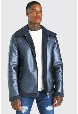 Blue blå Metallic Leather Look Zip Through Aviator