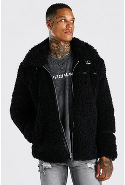 Black Faux Fur Aviator With Leather Look Trims