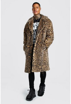Tan Leopard Faux Fur Longline Jacket