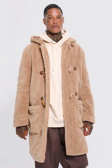 Tan brown Borg Hooded Duffle Coat