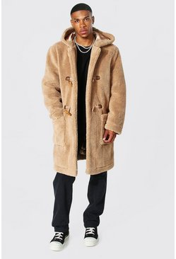 Tan brown Borg Hooded Duffle Coat