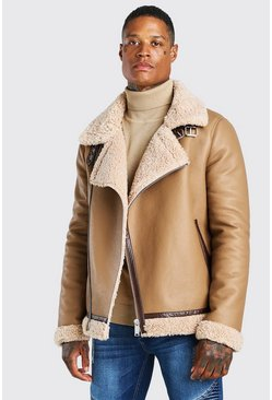 Tan brun Leather Look Borg Collar Aviator