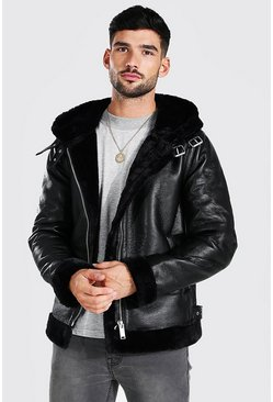 Black svart Leather Look Aviator With Fur Trim