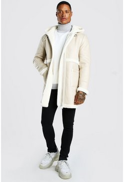 Cream vit Leather Look Borg Trim Longline Hooded Aviator