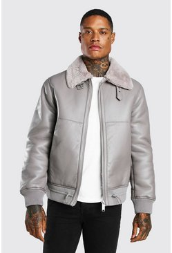 Light grey grå Leather Look Fur Collar Aviator Bomber Jacket