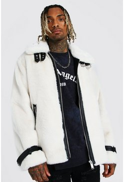 White vit Faux Fur Aviator With Leather Look Trims