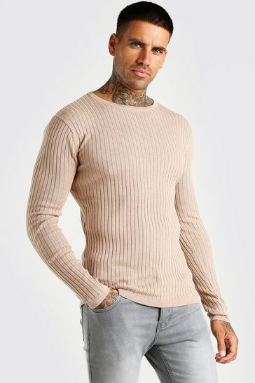 Taupe beige Muscle Fit Ribbed Crew Neck Jumper