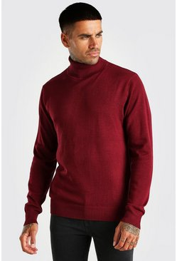 Bordeauxrood red Trui met col