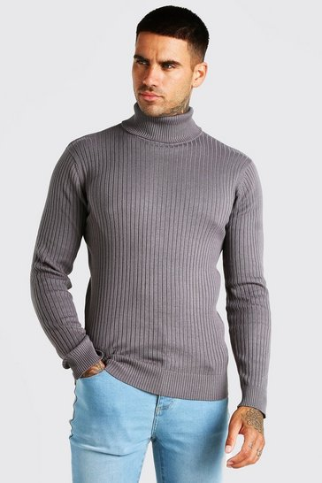 Charcoal grey Ribbed Roll Neck Jumper