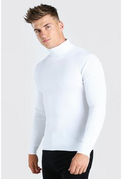 White Ribbed Roll Neck Jumper