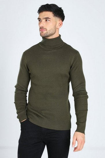 Khaki Ribbed Roll Neck Jumper