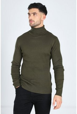 Khaki Ribbed Turtleneck Sweater