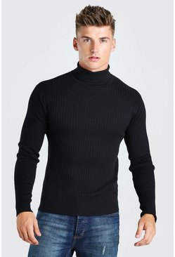 Black Muscle Fit Ribbed Roll Neck Jumper