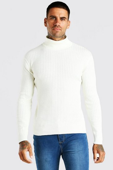 Ecru white Muscle Fit Ribbed Roll Neck Jumper