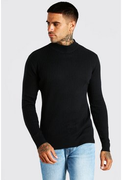 Black Ribbed Turtle Neck Jumper