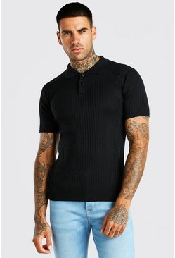 Black Short Sleeve Muscle Fit Ribbed Knit Polo