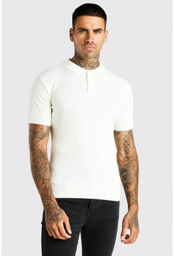 Ivory Short Sleeve Muscle Fit Ribbed Knit Polo