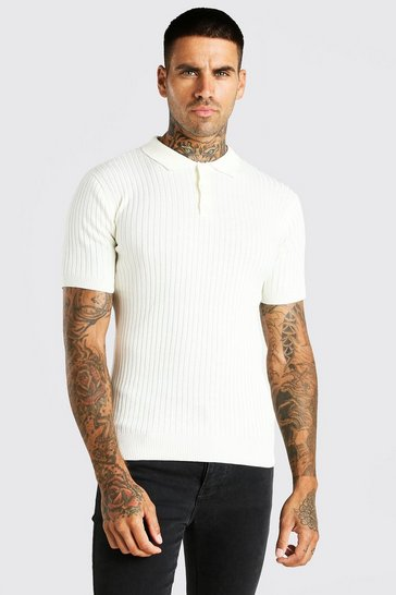 Ivory white Short Sleeve Muscle Fit Ribbed Knit Polo