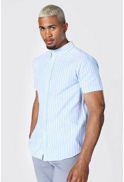 Oxford Stripe Ss Shirt , Blue azul