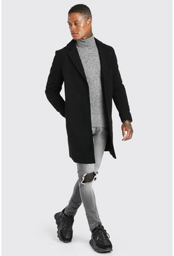 Black Smart Buttonless Overcoat