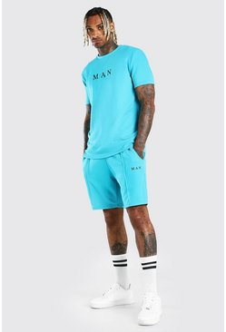 Turquoise blå MAN Scuba T-Shirt & Pintuck Short Set