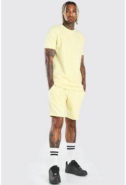 Yellow MAN Scuba T-Shirt & Pintuck Short Set