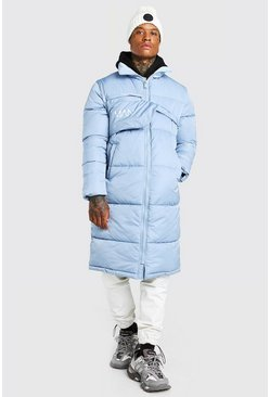 Blue MAN Longline Puffer With Detachable Bag
