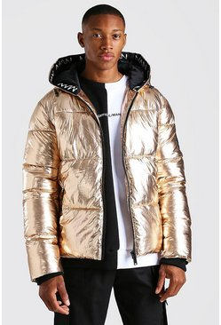 Gold metallic MAN Dash Branded Trim Hooded Metallic Puffer