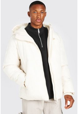 Off white white Hooded Toggle Detail Puffer