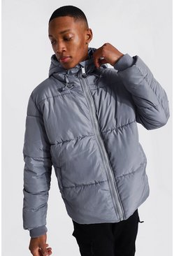 Denim-blue blue Hooded Toggle Detail Puffer